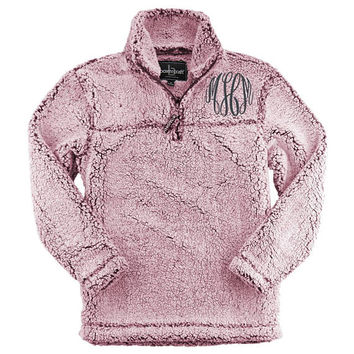 Warm and cozy Sherpa pullover / Embroidered pullover / Monogram Jacket