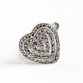 Vintage Heart Ring - Sterling Silver Marcasite Statement - Art Deco 1930s Size 8 Bold Romantic Love Sparkly Statement Valentine's Jewelry