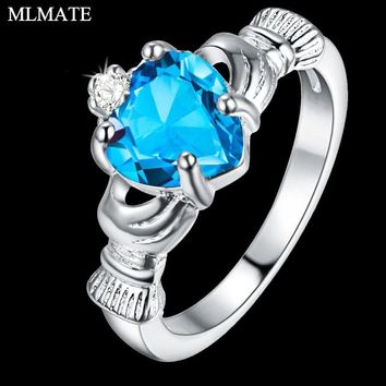 Women Irish Claddagh Heart Shaped Crystal 925 Sterling Silver Friendship & Love Engagement Ring