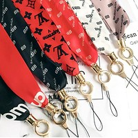 LV Balenciaga Supreme Popular Personality Long Paragraph Wide Universal Silk Ribbon iPhone Mobile Phone Hanging Rope Key Chain Multicolor I13135-1