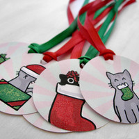 Six Christmas Holiday Gift Tags Red And Green Cute Cats with Glitter