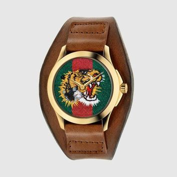 ac NOVQ2A GUCCI bee or tiger icon, fashion, hot sale watch L-PS-XSDZBSH Brown(tiger)