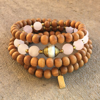 Healing and Love, Sandalwood and Matte Rose Quartz 108 Bead Mala with A Tibetan Pearl Guru Bead