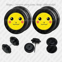 Smile face  ear plugs,fake Gauges,UV Acrylic ear plugs,