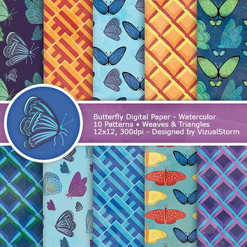 Watercolor Butterfly Digital Papers, colorful printable butterflies, weave and triangle backgrounds, insect craft paper, Buy 2 Get 1 Free