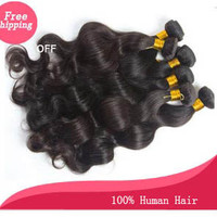 "unprocessed virgin remy human hair body wavy hair brazilian human hair weave hair extension length 10""-24"" natural black  free shipping"