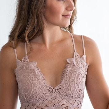 Lace And Luxury Padded Bralette: Twig