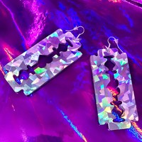 Holographic Razor Blade Earrings from ☯ harajuku alien ☯