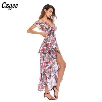 Gzgee Elegant Evening Dresses 2018 Vintage Floral Print Dresses Chiffon Long Formal Evening Gowns vestidos robe soiree G5667
