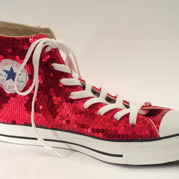 Ruby Red Sequin Converse All Star Hi Top from Princess Pumps 099c10ace
