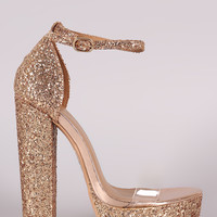 Glitter Encrusted Lucite Band Chunky Platform Heel