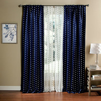 Lush Decor C21446P14-000 Polka Dot Navy 84 x 52-Inch Curtain Panel Pair