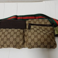 Auth Gucci Waist Belt Bag Purse GG Canvas Leather Red Green 28566 Pre-Owned