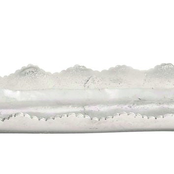 Aluminum Abstract Leaf Serving Tray With Jagged Edge Design