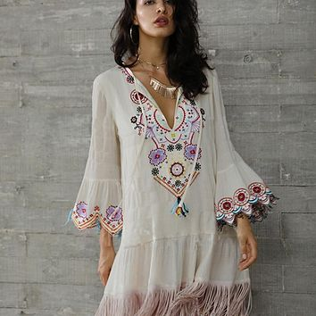 KHALEE YOSE Floral Embroidery Boho Dress Women Summer Bohemian Dresses Flare Sleeve Tassels V-neck Sexy Hippie Gypsy Beach Dress