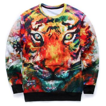 Colorful Tiger Face Painting Graphic Print Unisex Pullover Sweater | Gifts for Animal Lovers