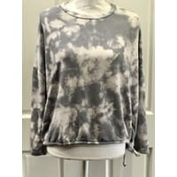 Tie Dye Top with Side Tie - Grey Tie Dye