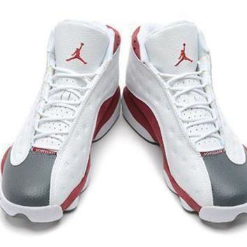 Cheap Air Jordan 13 Retro Men Shoes White Grey Red