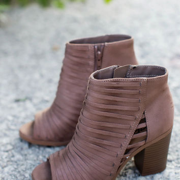 Taupe Stripe Stitch Heels