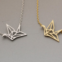 Origami Crane Necklace  -  Available color as listed ( Gold, Silver )