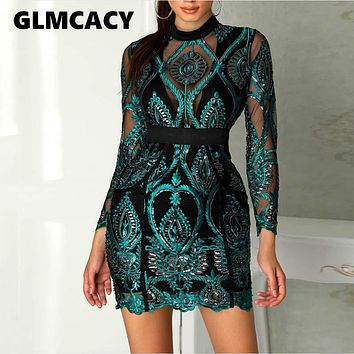 Women Sexy Long Sleeve Mesh See Through Sequined Dresses Ladies Hollow Out Lace Maxi Formal Party Elegant Bodycon Dress