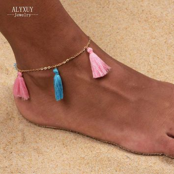 Candy Colored Tassel Anklet