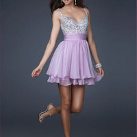 Elegent New Sequins&Chiffon V-neck Above Knee Cocktail Prom Evening Dress Beauty