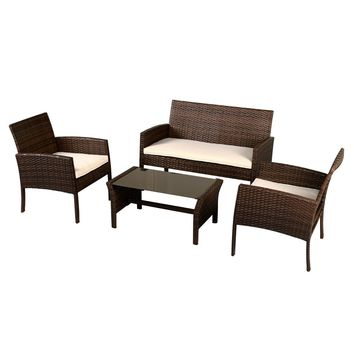 4 Pieces Patio Furniture Wicker Rattan Sofa Set Garden Coffee Table