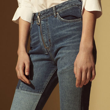 Patchwork cotton jeans with zip