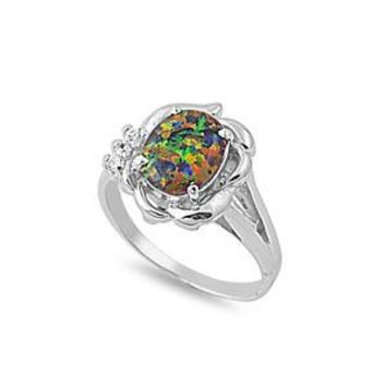Sterling Silver Filigree Oval 13MM Black Lab Opal Ring