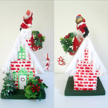 Mid Century Christmas House 1960s Plastic Kitsch Florist Supplies
