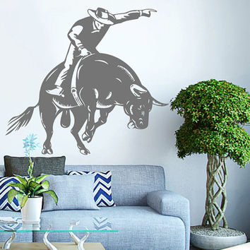Rodeo Cowboy On A Bull Vinyl Decals Wall Sticker Art Design Living Room Modern Stylish Bedroom Nice Picture Home Decor Hall  Interior ki592