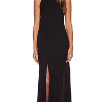krisa Halter Cut Maxi Dress in Black