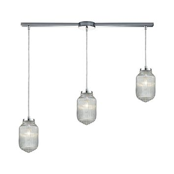 Dubois 3-Light Linear Pendant Fixture in Polished Chrome with Clear Ribbed Glass