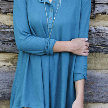 Sea of Warmth Teal Scoop Neck Long Sleeve Thermal Knit Henley Top