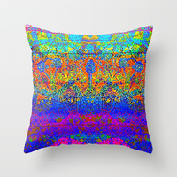 Bright Rainbow Colored Half Mandala Design Throw Pillow by Sheila Wenzel