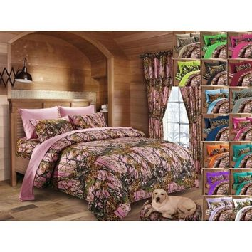 Woodland Pink Hunter Camo Comforter, Sheet, and Pillowcase Set