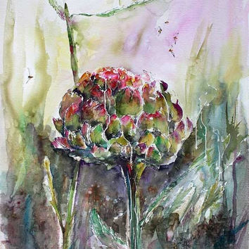 Artichoke Expressive Modern Original Watercolor & Ink 30 by 22 inch