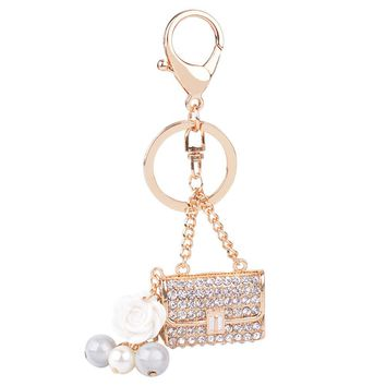 Creative Flower Pearl Bag Gold Alloy Key Chain