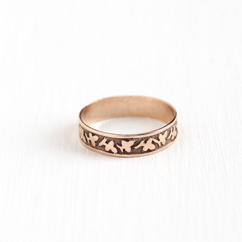 Antique Victorian 10k Rose Gold Ivy Leaf Ring - Size 4 Vintage Late 1800s Cigar Style Fine Wedding Band Stacking Nature Flower Jewelry