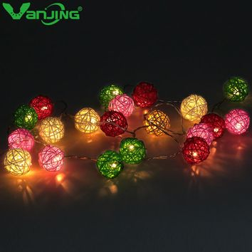 10LED 1M 20LED 2M Rattan Ball Garland LED Holiday Lighting Strings Warm White Home Wedding Party Christmas Decoration