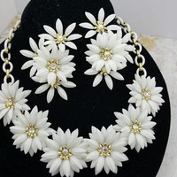 Coro Necklace and Clip Earrings White Celluloid Rhinestones Daisy Wedding  Delicate but Bold MCM