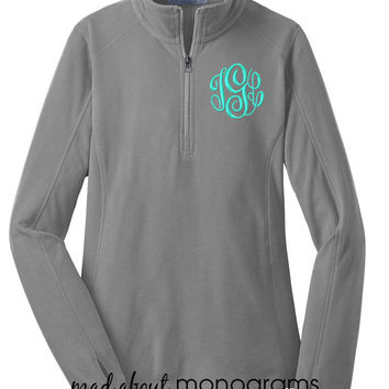 Monogrammed Microfleece Quarter Zip | PEARL GREY Pullover | Preppy Women's Ladies' Half Zip Fleece  | 6 Colors | Mad About Monograms