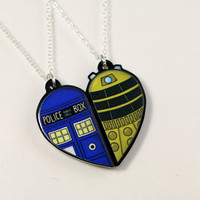Doctor Who's Tardis and Dalek Friendship Necklaces or Keyrings