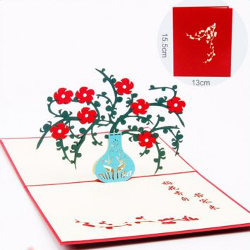 5pcs/lot Vintage Handmade Birthday Greetings Cards 3D Pop up Card Plum Blossom Thank you cards