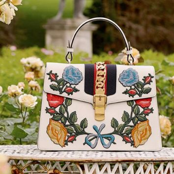 Gucci Women Flower Embroider Shopping Leather Metal Chain Crossbody Shoulder Bag G