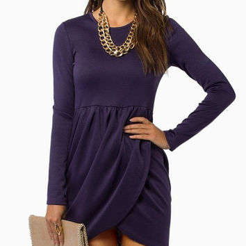 Purple Long Sleeve Tulip Hem Mini Dress