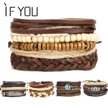 2017 New Brinco Rock Leather Bracelet Men Jewelry Wood Bead Bracelets For Women Vintage Punk Bracelets & Bangles Christmas Gift