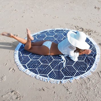 Round Polyester Geometric Beach Towel 150cm Throw Blanket Yoga Mat Picnic Cloth Home Decor Textiles Outdoor Carry Accessories