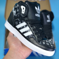 DCCK A274 Adidas Extaball M LV Supreme 2018 High Fashion Casual Skate Shoes Black White